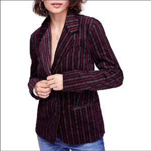 Free people B line striped velvet blazer Sz XS